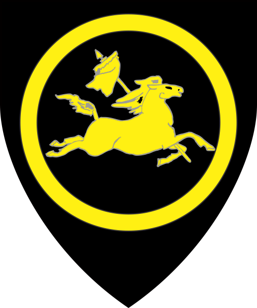 [Sable, a horse courant to sinister maintaining over its shoulder a vexilium within an annulet Or]