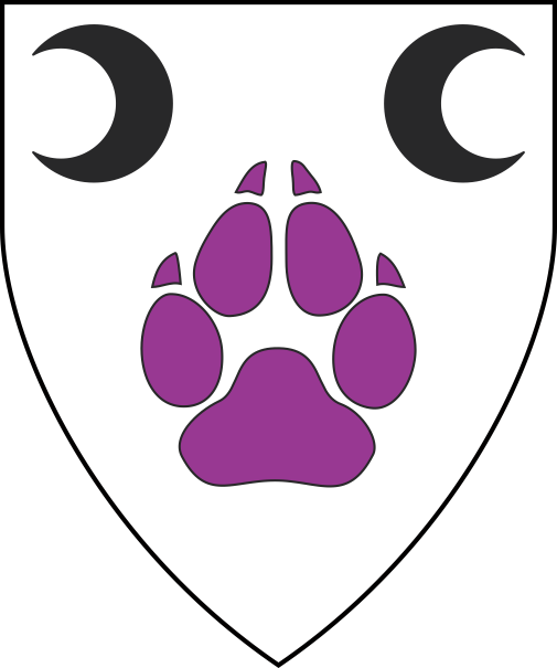 [Argent, a wolf's paw print purpure, in chief an increscent and a decrescent sable]