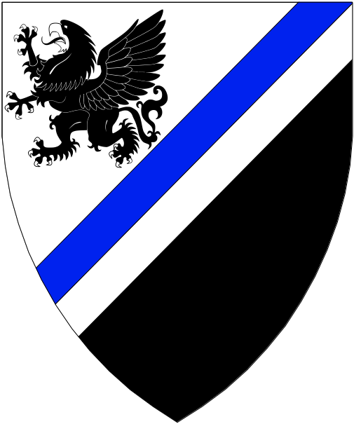 [Per bend sinister argent and sable, a bend sinister counterchanged azure and argent and in dexter chief a griffin sable.]