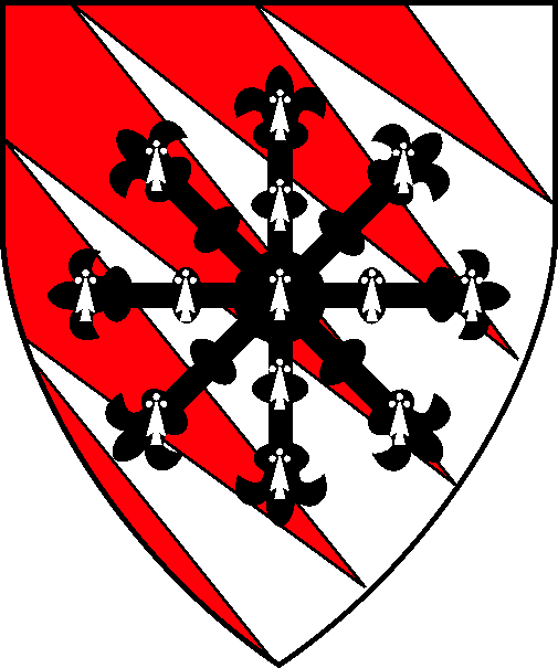 [Pily bendy gules and argent, an escarbuncle counter-ermine]