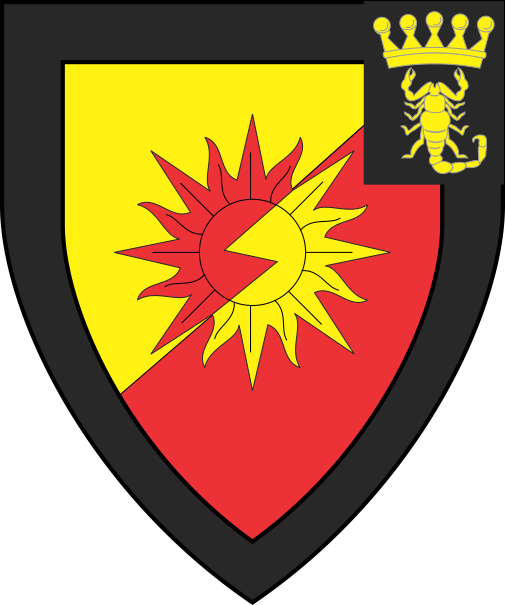 [Per bend sinister bevilled Or and gules, a sun counterchanged within a bordure sable, as an augmentation on the sinister canton sable in pale a pearled coronet and a scorpion Or]