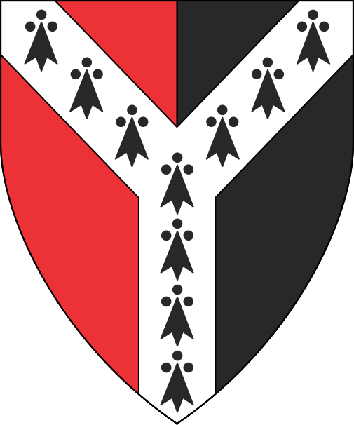 [Per pale gules and sable, a pall ermine]