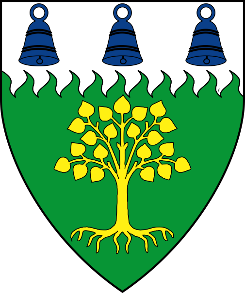 [Vert, a tree eradicated Or, on a chief rayonny argent three bells azure]