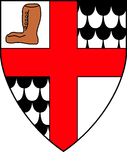 [Quarterly argent and papellonny sable and argent, a cross gules, in dexter chief a leather boot proper]