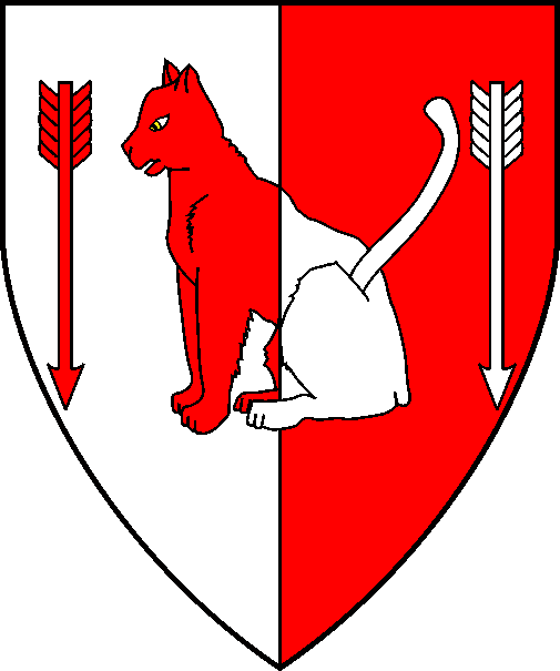 [Per pale argent and gules, a cat sejant between in fess two arrows counterchanged]