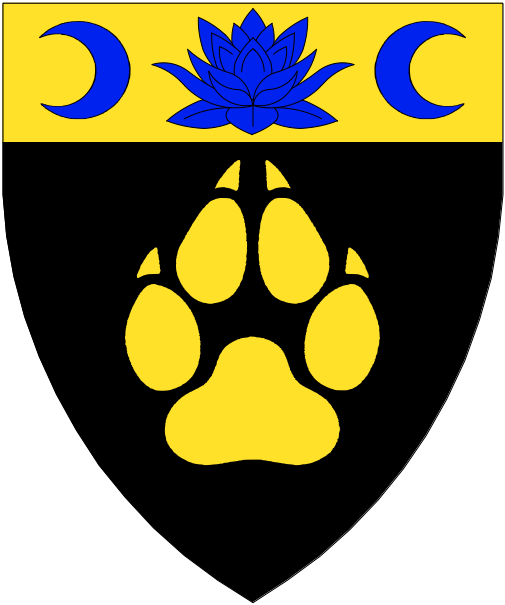 [Sable, a pawprint and on a chief Or a lotus blossom in profile between an increscent and a decrescent azure.]