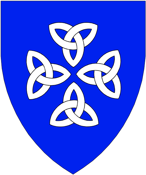 [Azure, four triquetras in cross points to center argent.]