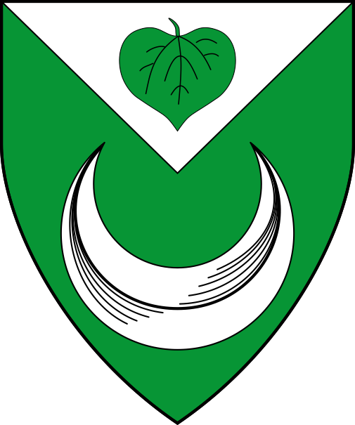 [Vert, a crescent and on a chief triangular argent a linden leaf inverted vert.]