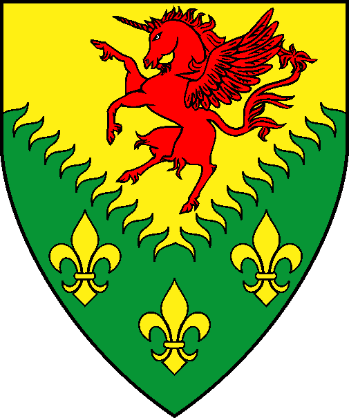 [Per chevron inverted rayonny Or and vert, a winged unicorn segreant gules and three fleurs-de-lys Or]