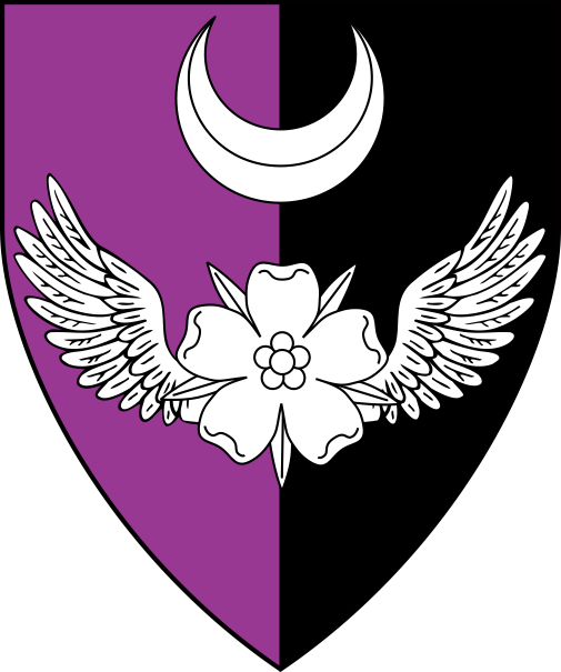 [Per pale purpure and sable, a winged rose and in chief a crescent argent]