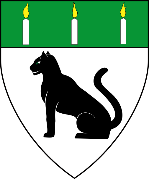 [Argent, a natural panther sejant sable and on a chief vert three candles argent enflamed Or          ]