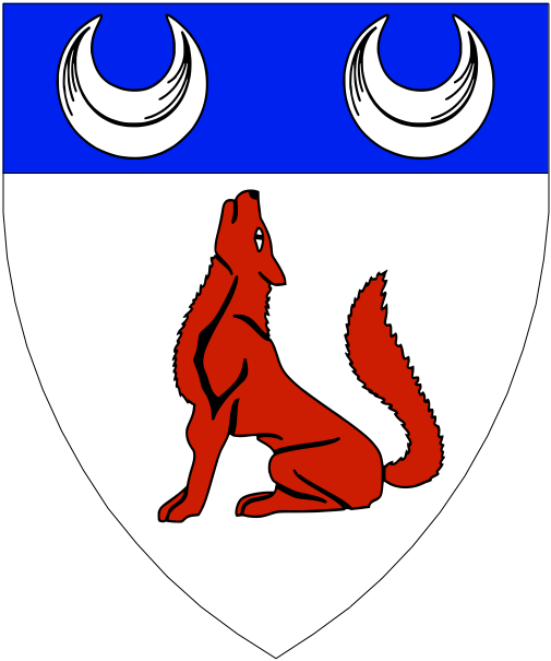 [Argent, a wolf sejant gules and on a chief azure two crescents argent.]