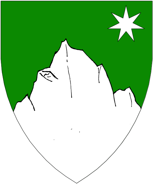 [Vert, a mountain and in sinister canton a mullet of seven points argent.]