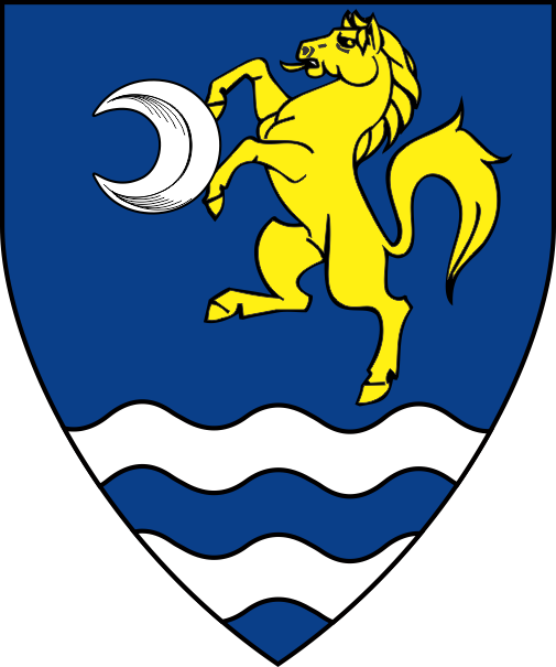 [Azure, a horse rampant Or maintaining an increscent argent, a ford proper]