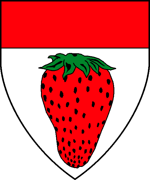 [Argent, a strawberry gules leaved vert and a chief gules. ]