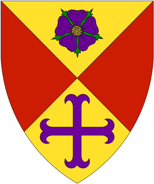 [Per saltire Or and gules, in pale a rose barbed and seeded proper and a cross moline purpure/]