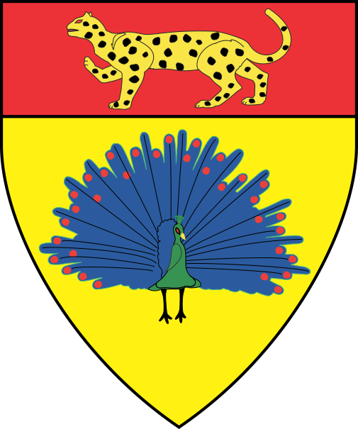 [Or, a peacock in its pride proper on a chief gules a natural leopard passant Or spotted sable]