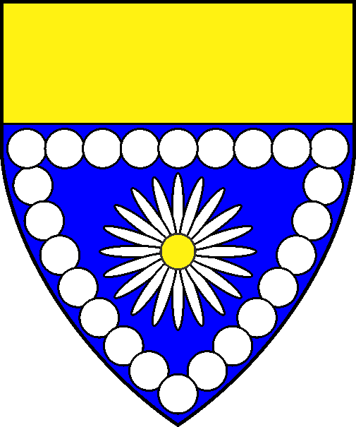 [Azure, a daisy proper within an orle of plates conjoined and a chief Or]