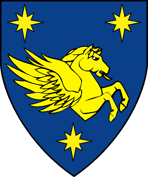 [  Azure, a demi-pegasus couped contourny between three compass stars Or. ]