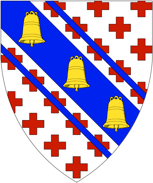 [Argent crusilly gules, on a bend cotised azure three bells palewise Or]