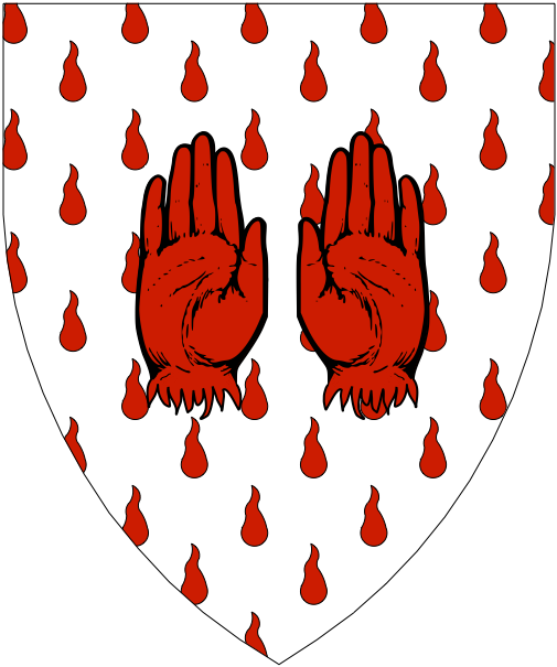 [Argent, goutty de sang, a pair of hands erased gules.]