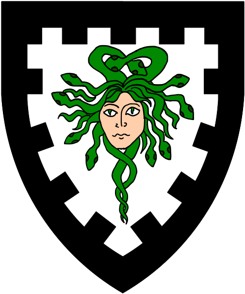 [Argent, a Gorgon's head cabossed proper crined with serpents vert and a bordure embattled sable.]