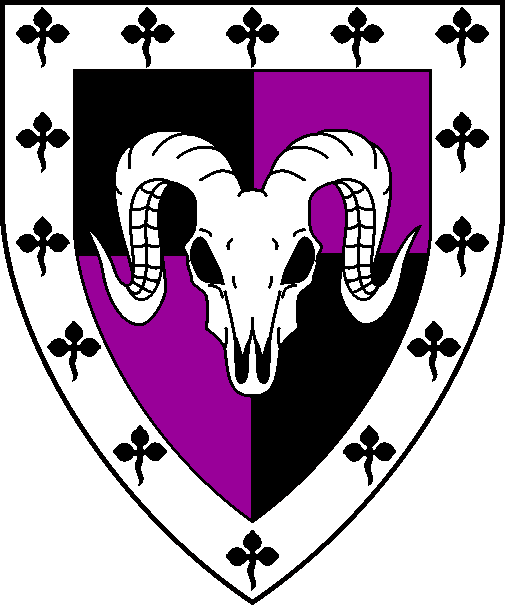 [Quarterly sable and purpure, a ram's skull cabossed argent and a bordure argent semy of trefoils sable]