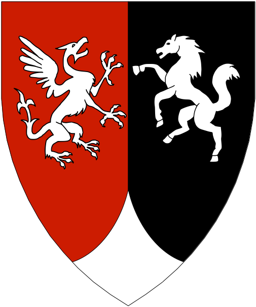 [Per pale gules and sable, a gryphon and a horse combattant, a point pointed argent.]