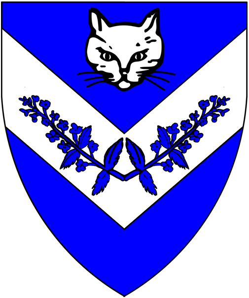 [Azure, on a chevron inverted argent two sprigs of catmint conjoined in base azure and in chief a domestic cat's face argent.]