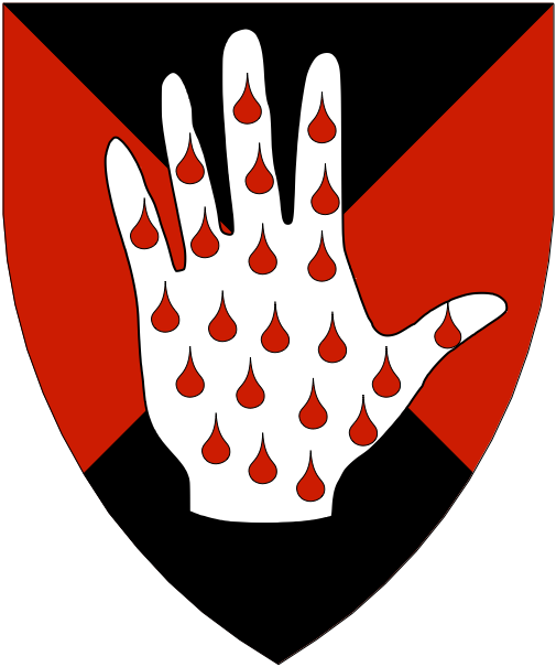 [Per saltire sable and gules, a hand argent goutty gules.]