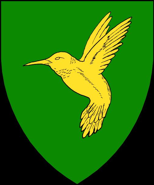 [Vert, a hummingbird hovering Or.]