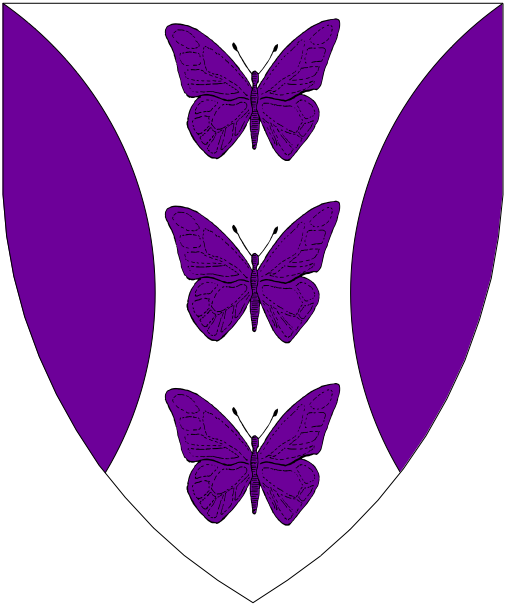 [Argent, in pale three butterflies between flaunches purpure.]