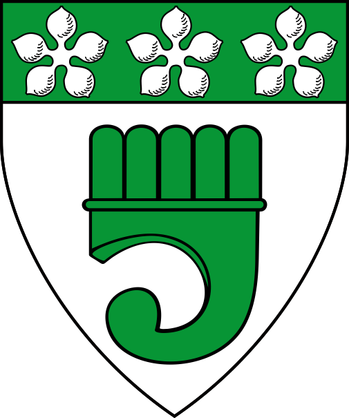 [Argent, a clarion and on a chief vert three cinquefoils argent]