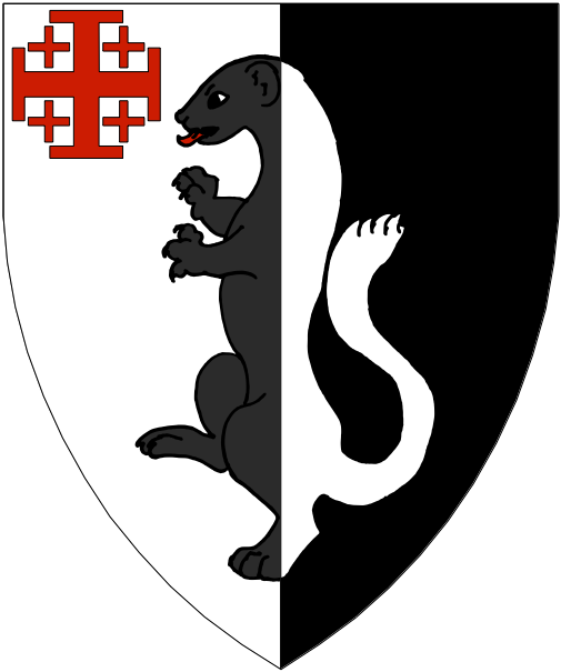 [Per pale argent and sable, a ferret rampant counterchanged, in canton a cross of Jerusalem gules.]