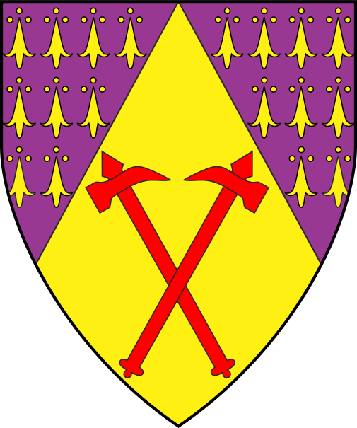 [Per chevron throughout purpure ermined Or and Or, in base two warhammers in saltire gules]