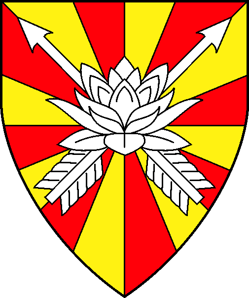 [Gyronny of sixteen Or and gules, in saltire two arrows inverted, overall a lotus blossom in profile argent]