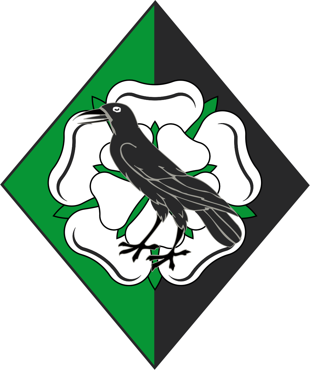 [Per pale vert and sable, on a rose argent a raven sable]