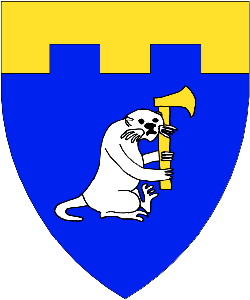 [Azure, an otter sejant erect contourny guardant argent maintaining an axe, blade to sinister, a chief embattled Or.]