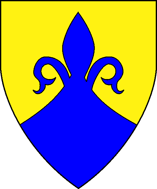 [Per chevron ployé Or and azure, a demi-fleur-de-lys issuant from the line of division azure]