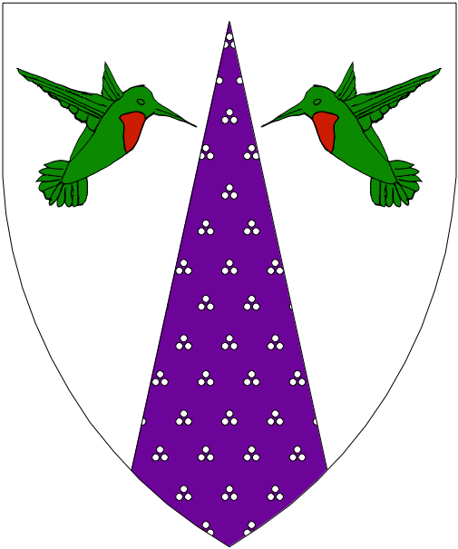 [Argent, a pile inverted purpure estencelly argent between two hummingbirds rising respectant vert throated gules.]
