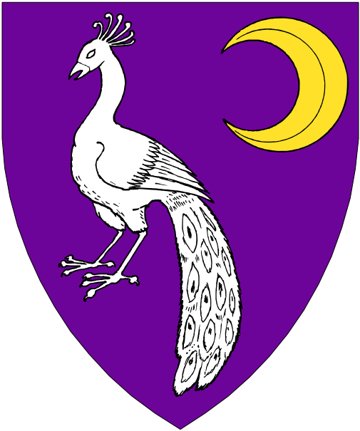 [Purpure, a peacock argent and in sinister chief an increscent Or.]