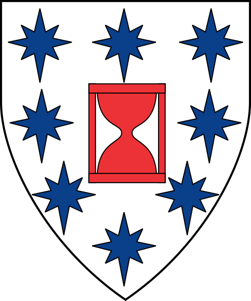 [Argent, an hourglass gules within an orle of compass stars azure]