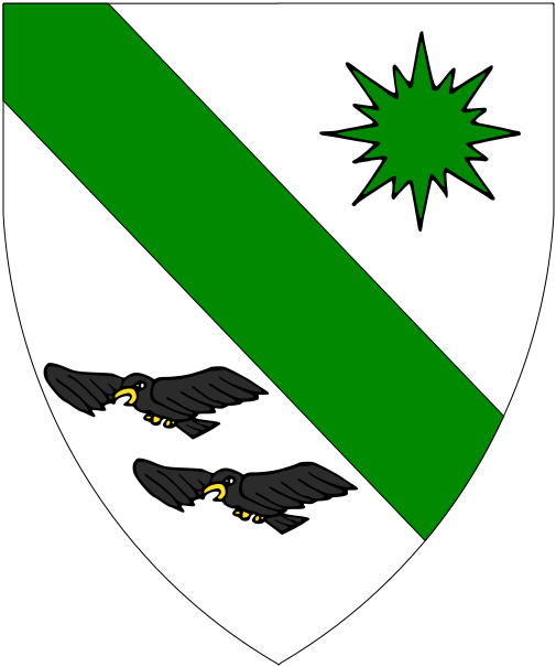 [Argent, a bend between a compass-star of eight points vert and in bend two hawks volant affronty fesswise sable]
