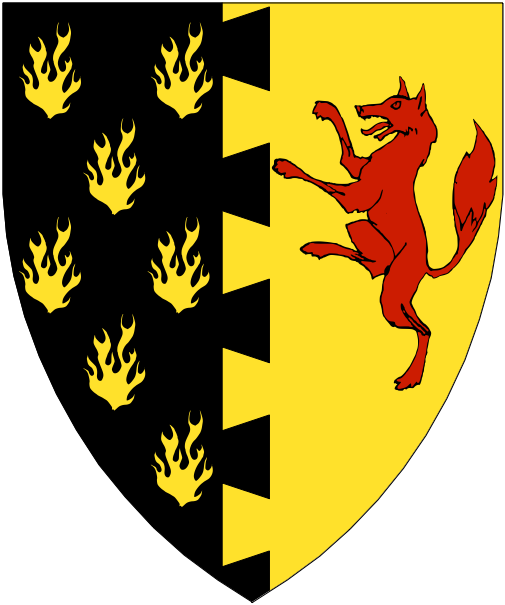 [Per pale dovetailed sable semy of flames Or and Or, in sinister a fox rampant gules.]
