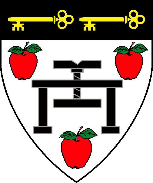[Argent, a cider press sable between three apples gules, slipped and leaved proper, and for augmentation, on a chief sable two keys fesswise, wards to base Or.   ]