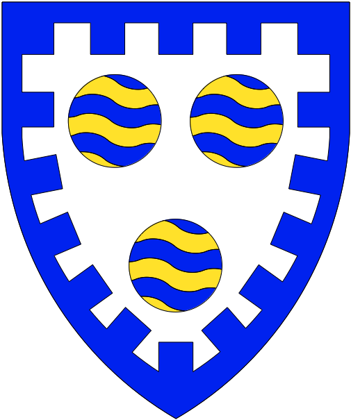 [Argent, three roundels barry wavy azure and Or within a bordure embattled azure.]
