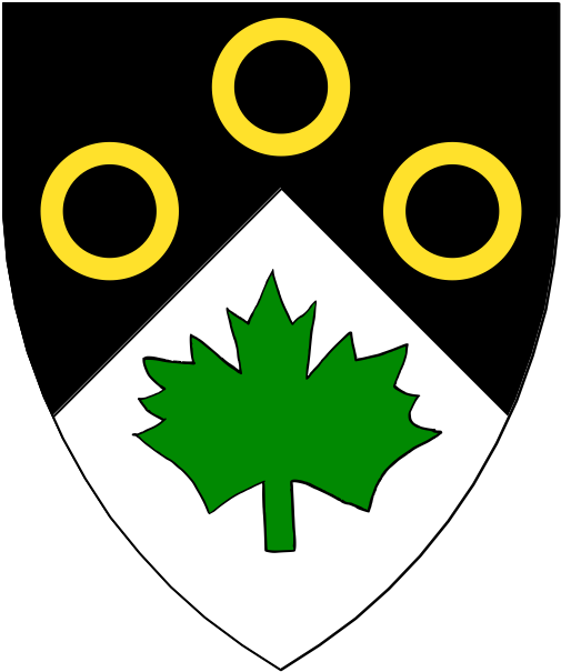[Per chevron sable and argent, three annulets in chevron Or and a maple leaf vert.]