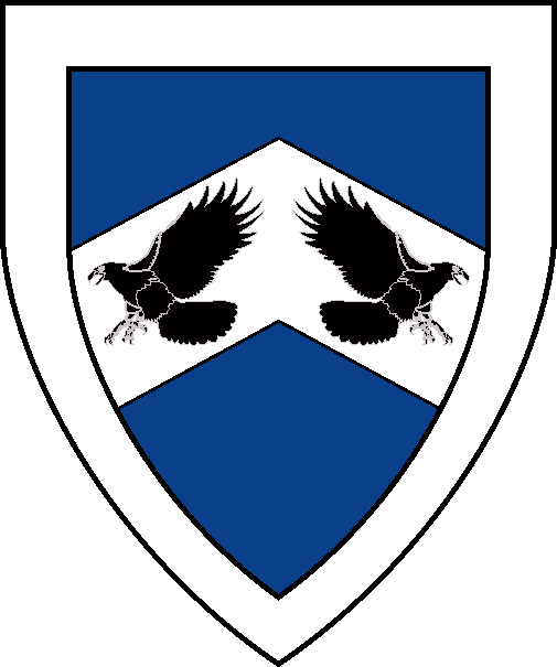 [Azure, on a chevron argent two hawks striking addorsed sable, a bordure argent  ]