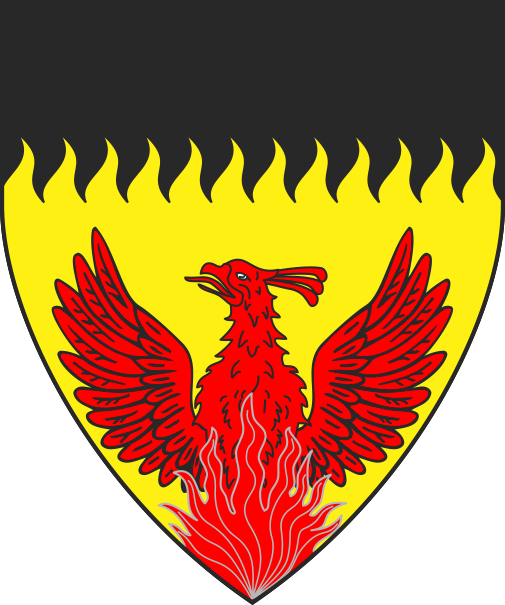 [Or, issuant from base a phoenix gules, a chief rayonny sable]