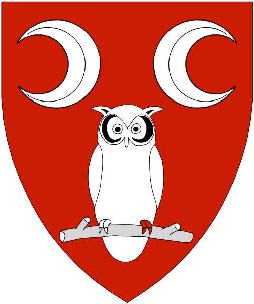 [Gules, an increscent a decrescent and an owl argent.